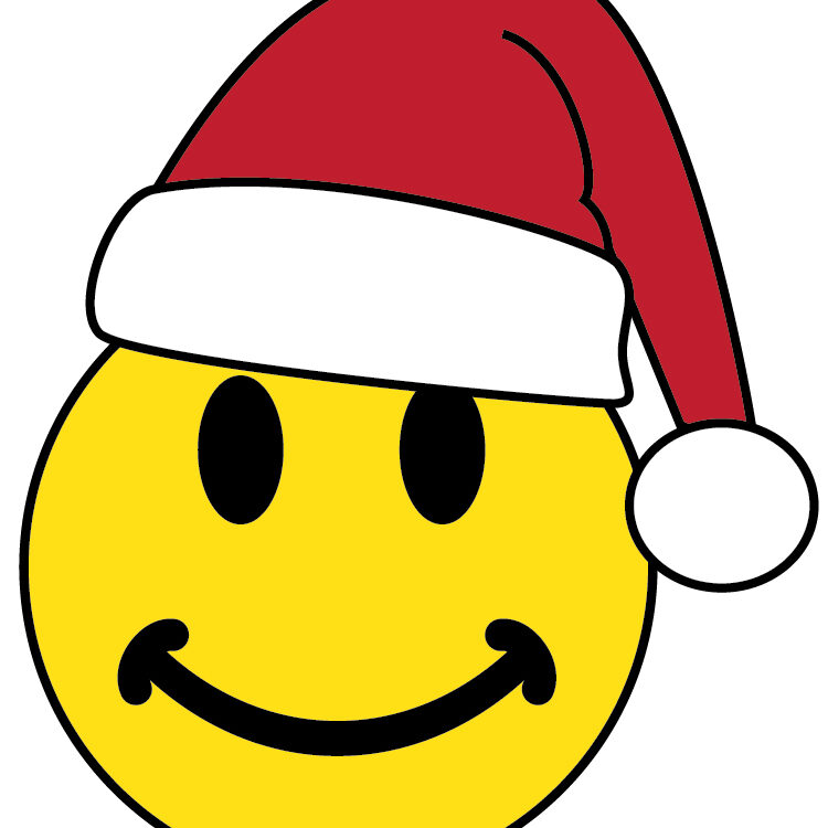 smiley face wearing a Santa hat